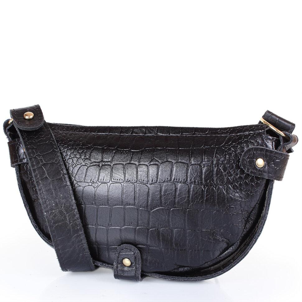 95817df56f3f Женская кожаная сумка-клатч LASKARA (ЛАСКАРА) LK-DM232-black-croco ...