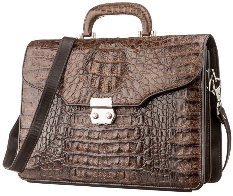 967816efb5d7 Портфель мужской CROCODILE LEATHER 18261 из натуральной кожи крокодила  Коричневый